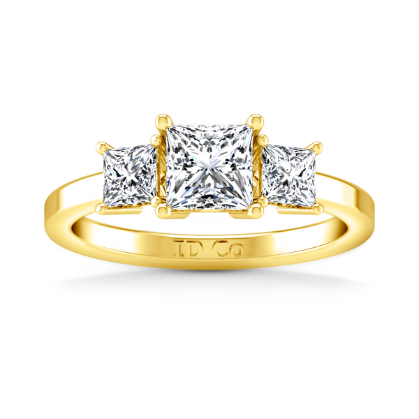 Three Stone Engagement Ring Adonna 14K Yellow Gold