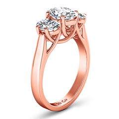 Three Stone Engagement Ring Arabella 14K Rose Gold