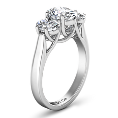 Three Stone Engagement Ring Arabella 14K White Gold