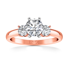 Three Stone Engagement Ring Talia 14K Rose Gold