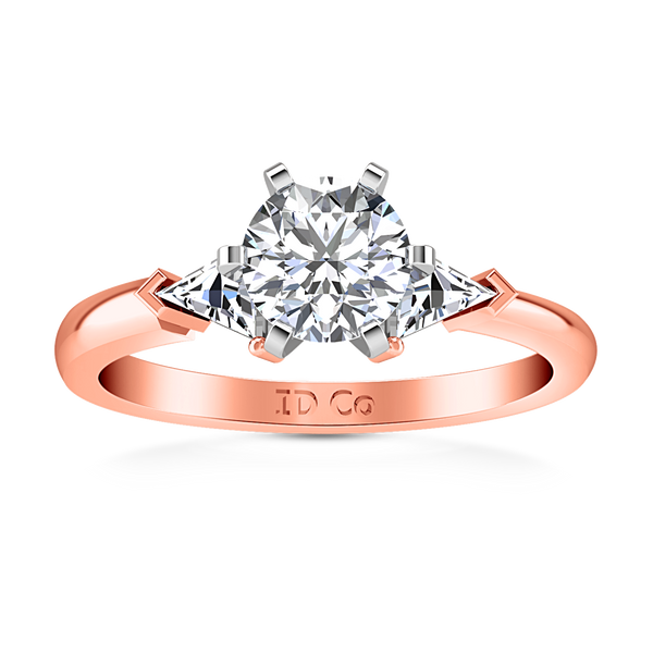 Three Stone Engagement Ring Miranda Trilliant 14K Rose Gold