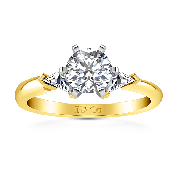 Three Stone Engagement Ring Miranda Trilliant 14K Yellow Gold
