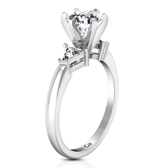 Three Stone Engagement Ring Miranda Trilliant 14K White Gold