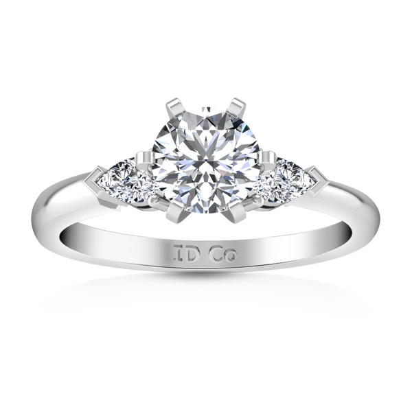 Three Stone Engagement Ring Eliza Pear Shape 14K White Gold