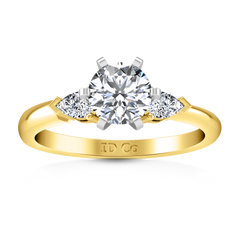 Three Stone Engagement Ring Eliza Pear Shape 14K Yellow Gold