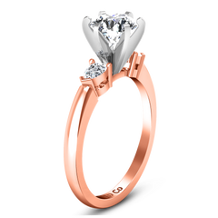 Three Stone Engagement Ring Eliza Pear Shape 14K Rose Gold