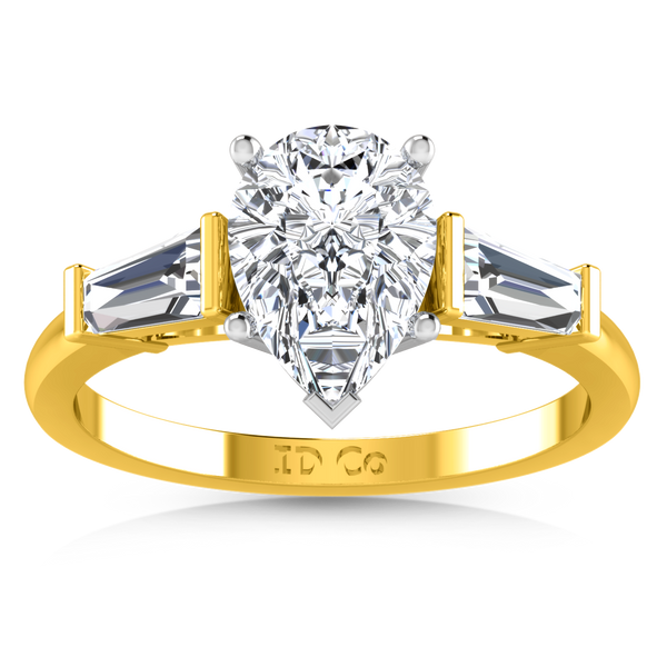 Three Stone Engagement Ring Tapered Baguette 14K Yellow Gold