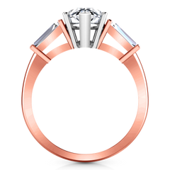 Three Stone Engagement Ring Tapered Baguette 14K Rose Gold
