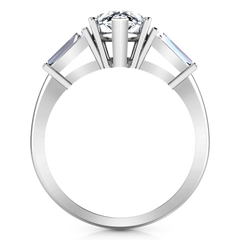 Three Stone Engagement Ring Tapered Baguette 14K White Gold