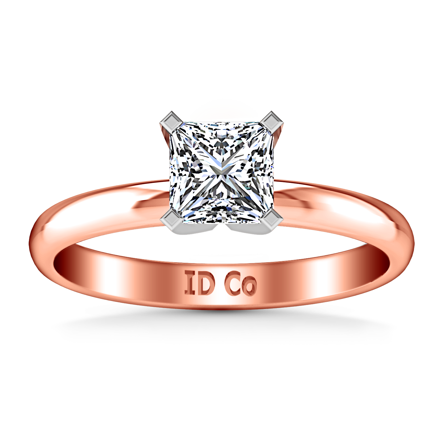 Solitaire Princess Cut Engagement Ring Comfort Fit 14K Rose Gold – Imagine  Diamonds 053be44d1