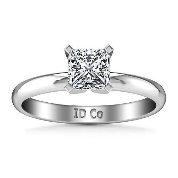 Solitaire Princess Cut Engagement Ring Comfort Fit  14K White Gold