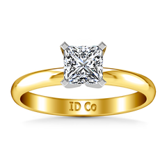 Solitaire Princess Cut Engagement Ring Comfort Fit 14K Yellow Gold