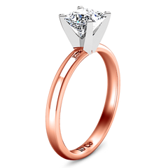 Solitaire Princess Cut Engagement Ring Comfort Fit 14K Rose Gold