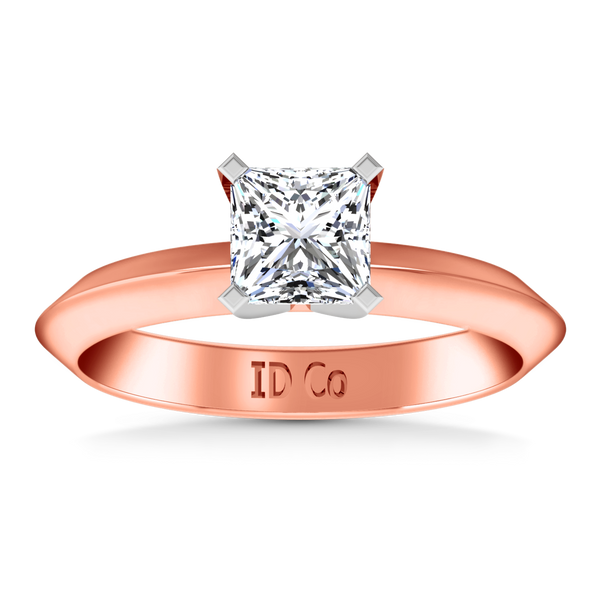 Solitaire Engagement Ring Knife Edge Princess Cut Diamond 14K Rose Gold