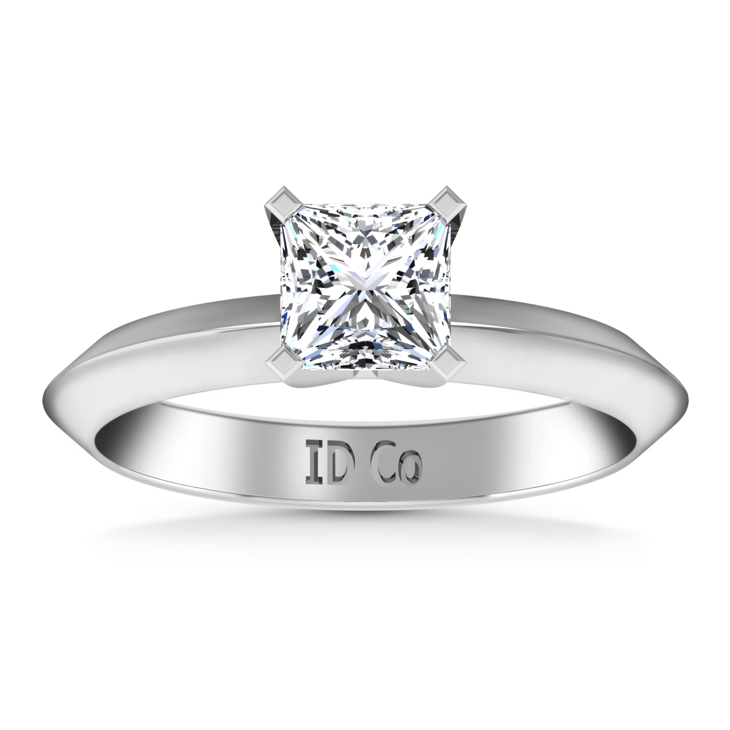 Solitaire Engagement Ring Knife Edge Princess Cut Diamond 14K