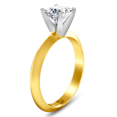 Solitaire Engagement Ring Knife Edge Princess Cut Diamond 14K Yellow Gold