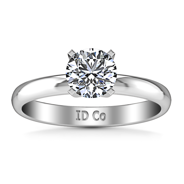Solitaire Engagement Ring Comfort Fit Round Diamond 14K White Gold