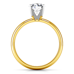 Solitaire Engagement Ring Comfort Fit Round Diamond 14K Yellow Gold