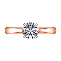 Solitaire Engagement Ring Comfort Fit Round Diamond 14K Rose Gold