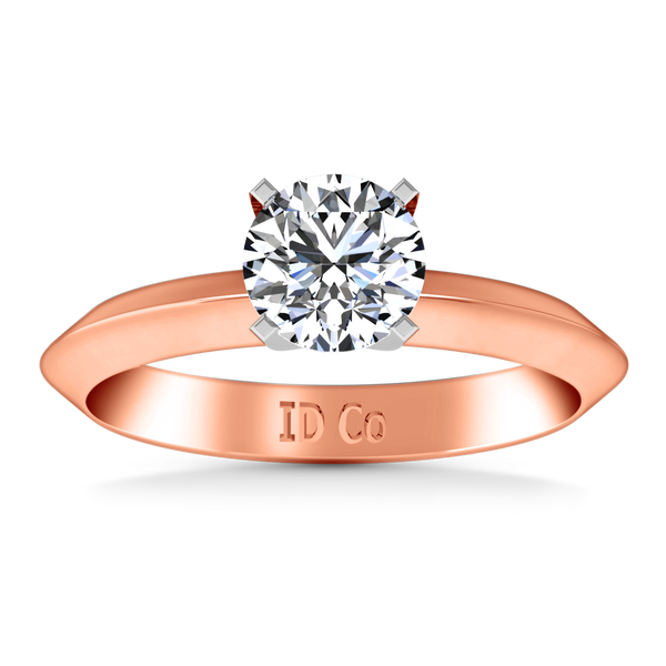 Solitaire Engagement Ring Knife Edge Round Diamond 14K Rose Gold