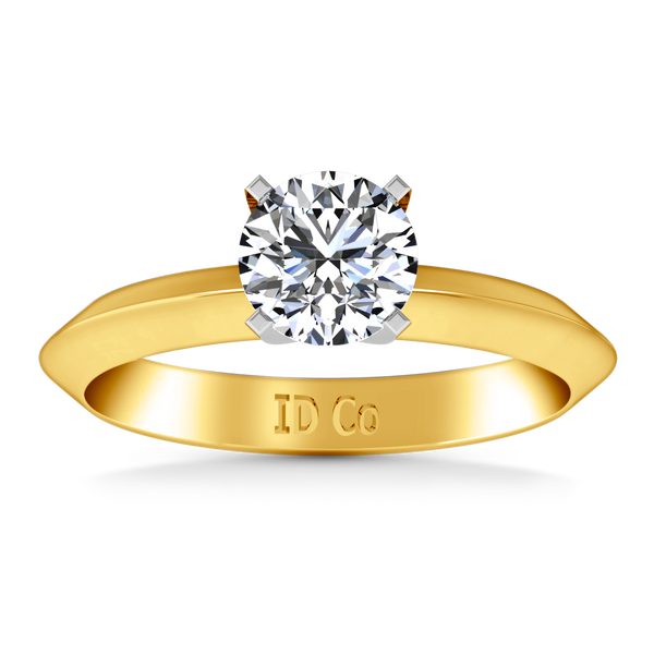 Solitaire Engagement Ring Knife Edge Round Diamond 14K Yellow Gold