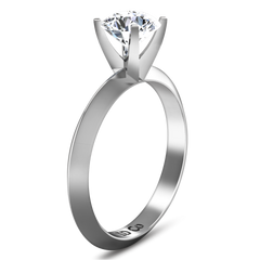 Solitaire Engagement Ring Knife Edge Round Diamond 14K White Gold