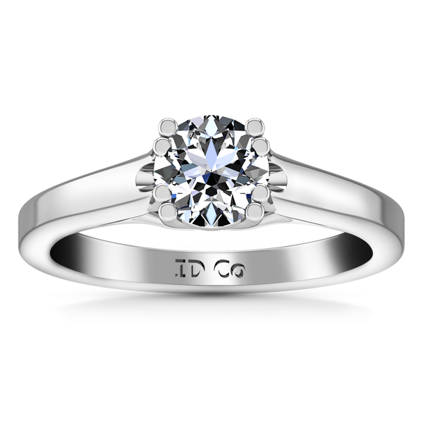 Solitaire Engagement Ring Royale Lattice 14K White Gold