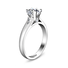 Solitaire Engagement Ring Luna 14K White Gold