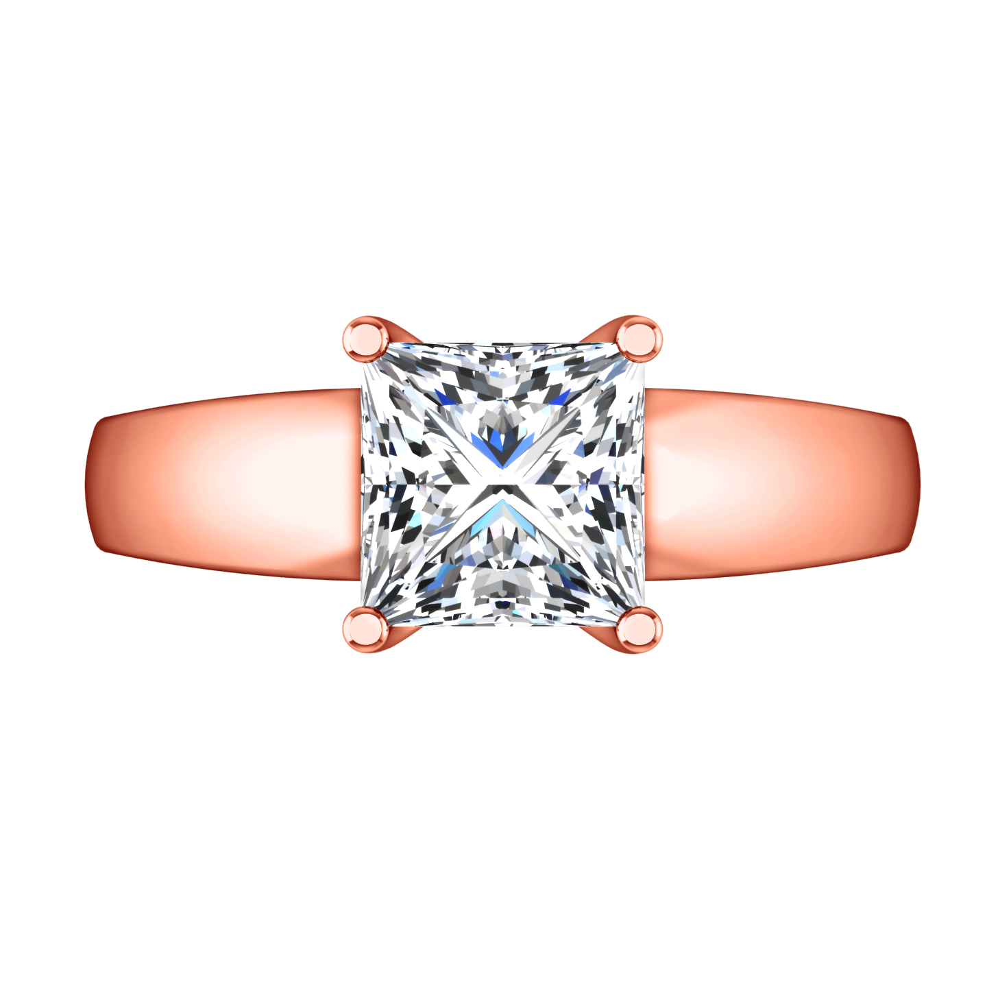 Solitaire Princess Cut Engagement Ring Leyla 14k Rose Gold