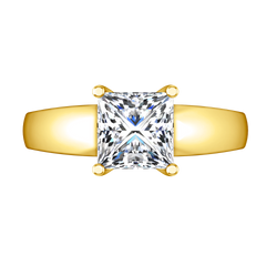 Solitaire Princess Cut Engagement Ring Leyla 14K Yellow Gold