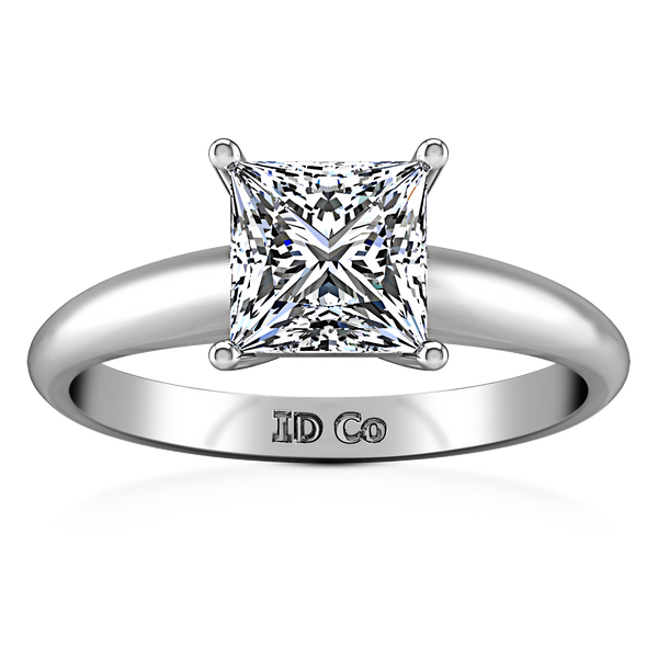 Solitaire Princess Cut Engagement Ring Cindy 14K White Gold