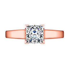 Solitaire Princess Cut Engagement Ring Holly 14K Rose Gold