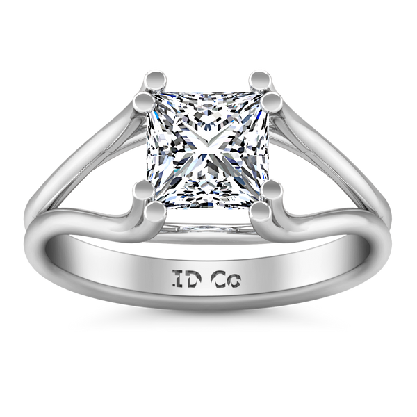 Solitaire Princess Cut Engagement Ring Bella 14K White Gold