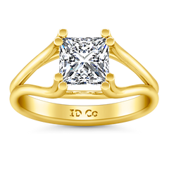 Solitaire Princess Cut Engagement Ring Bella 14K Yellow Gold