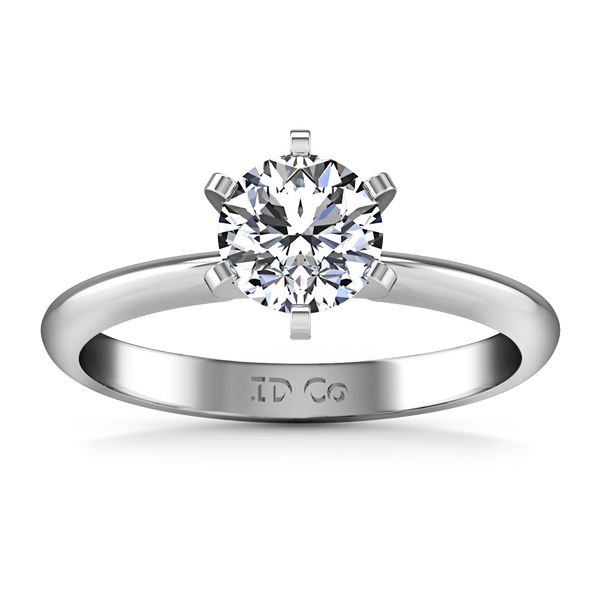 Solitaire Engagement Ring Classic 6 Prong 14K White Gold