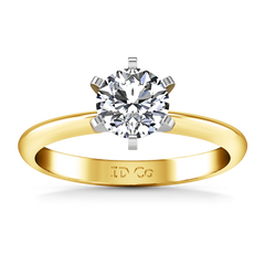 Solitaire Engagement Ring Classic 6 Prong 14K Yellow Gold