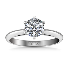 Solitaire Engagement Ring Cathedral 6 Prong 14K White Gold