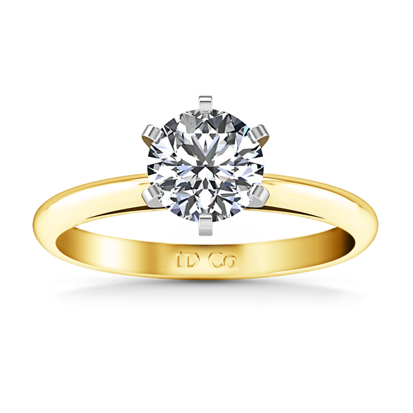 Solitaire Engagement Ring Cathedral 6 Prong 14K Yellow Gold
