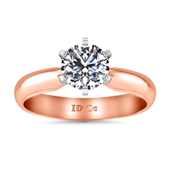 Solitaire Engagement Ring Wide Classic 6 Prong 14K Rose Gold
