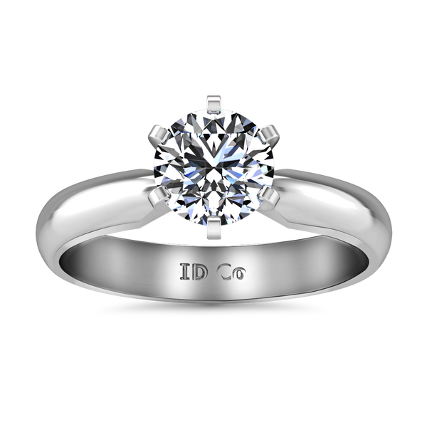 Solitaire Engagement Ring Wide Classic 6 Prong 14K White Gold