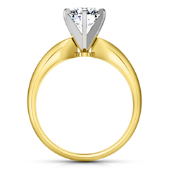 Solitaire Engagement Ring Wide Classic 6 Prong 14K Yellow Gold