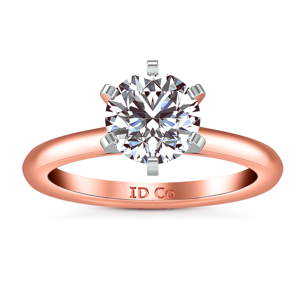 Solitaire Engagement Ring Petite Cathedral 14K Rose Gold