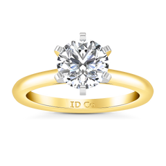 Solitaire Engagement Ring Petite Cathedral 14K Yellow Gold