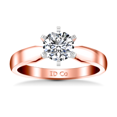 Solitaire Engagement Ring Wide Tappered 14K Rose Gold