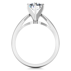 Solitaire Engagement Ring Wide Tappered 14K White Gold