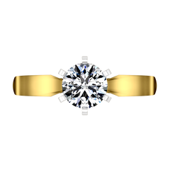 Solitaire Engagement Ring Wide Tappered 14K Yellow Gold