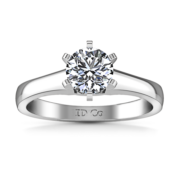 Solitaire Engagement Ring Stylized 6 Prong 14K White Gold