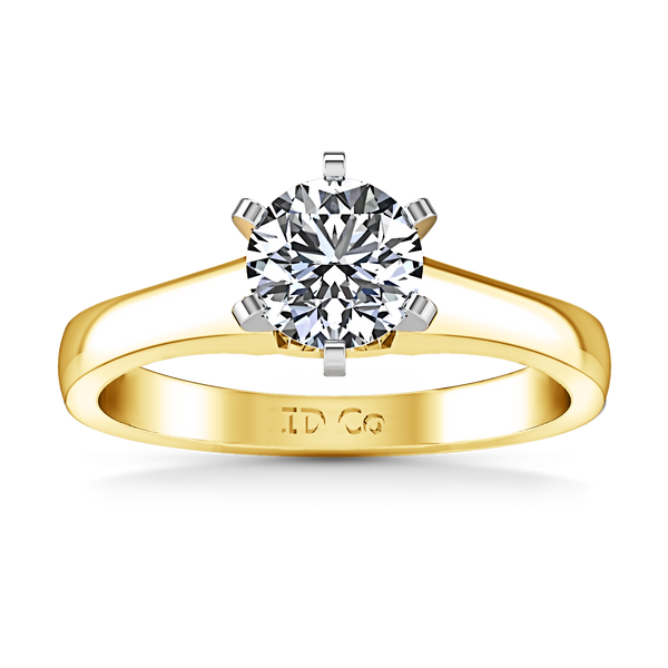 Solitaire Engagement Ring Stylized 6 Prong 14K Yellow Gold