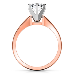 Solitaire Engagement Ring Stylized 6 Prong 14K Rose Gold