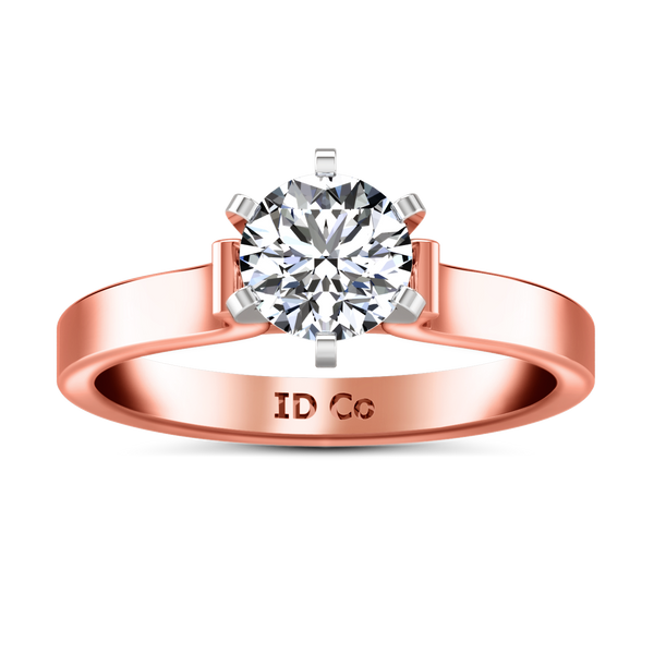 Solitaire Engagement Ring Curved Shoulder 14K Rose Gold